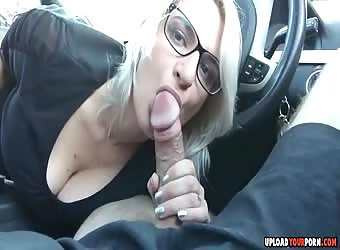 Hot Blowjob In A Car By A Blonde