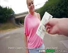 Curvy Blonde With Beautiful Tits Public Fuck For Money